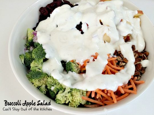Broccoli Apple Salad | Can't Stay Out of the Kitchen | this healthy and delicious #salad pairs #broccoli with #apples in a delightful combination of flavors and textures. #glutenfree #craisins