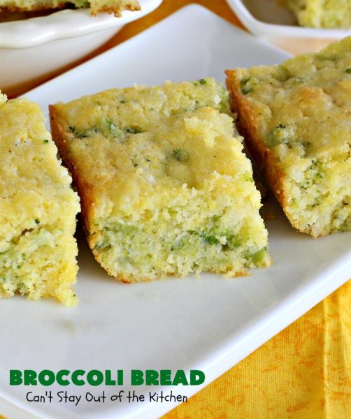 Broccoli Bread | Can't Stay Out of the Kitchen | this delicious #broccoli #cornbread is terrific as a side for soups & chili. Quick, easy and so delicious. #bread #BroccoliBread #cornmeal #cheese