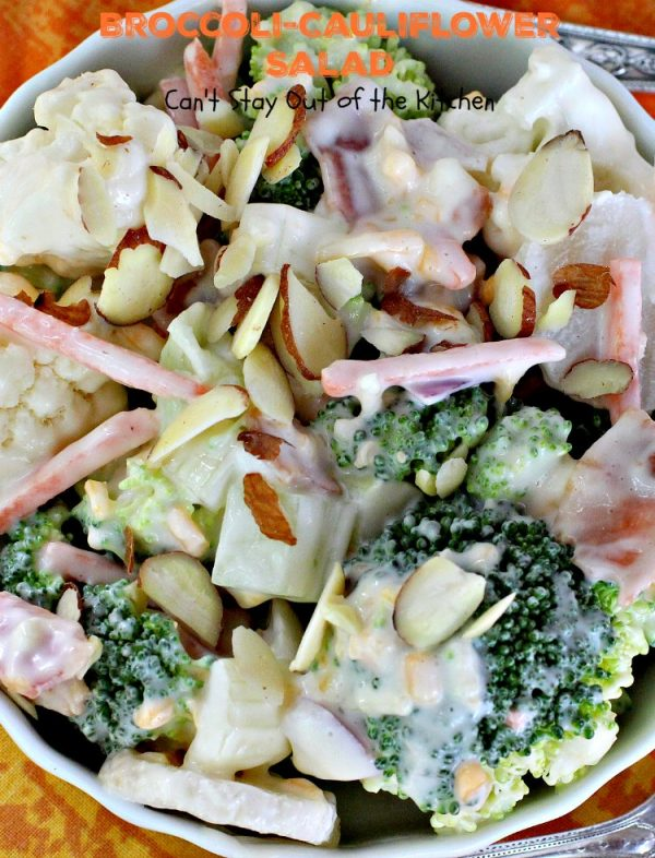 Broccoli-Cauliflower Salad   Can't Stay Out of the Kitchen   We loved this fabulous summer #salad. It's perfect for #MemorialDay or other summer #holidays. #broccoli #cauliflower #glutenfree