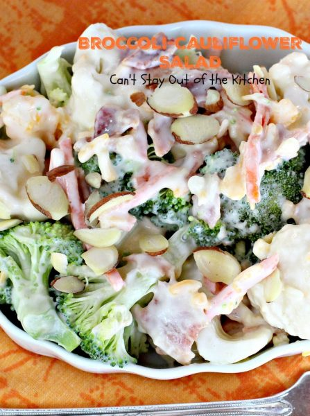 Broccoli-Cauliflower Salad | Can't Stay Out of the Kitchen | We loved this fabulous summer #salad. It's perfect for #MemorialDay or other summer #holidays. #broccoli #cauliflower #glutenfree
