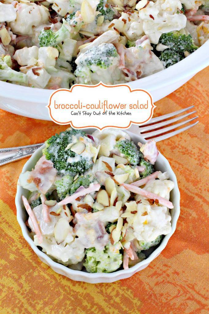 Broccoli-Cauliflower Salad | Can't Stay Out of the Kitchen | fabulous #salad chocked full of #veggies with an easy, creamy homemade #saladdressing. #broccoli #cauliflower #carrots