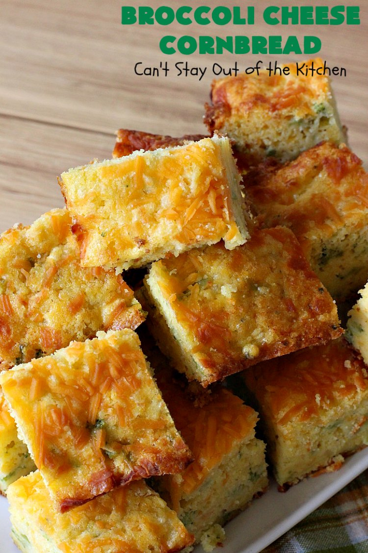 Broccoli Cheese Cornbread | Can't Stay Out of the Kitchen | this delicious #cornbread #recipe uses two kinds of #cheese. It's a wonderful #SideDish for any main dish meal or for #holidays like #Easter or #MothersDay. #Broccoli #CheddarCheese #BroccoliCornbread #BroccoliCheeseCornbread