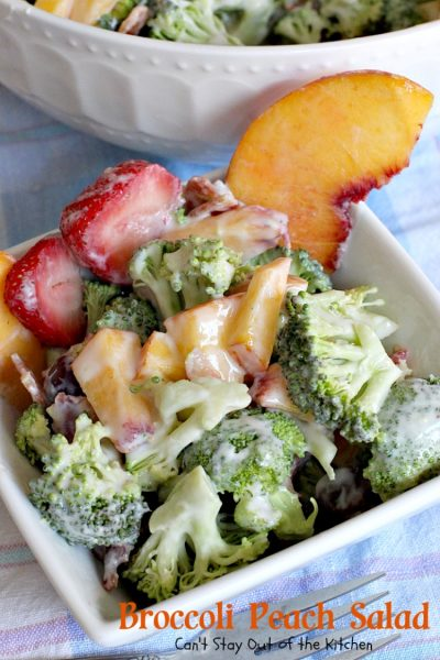 Broccoli Peach Salad | Can't Stay Out of the Kitchen | my FAVORITE #broccolisalad recipe. This one is fantastic and so quick and easy. #glutenfree #peaches #broccoli #bacon