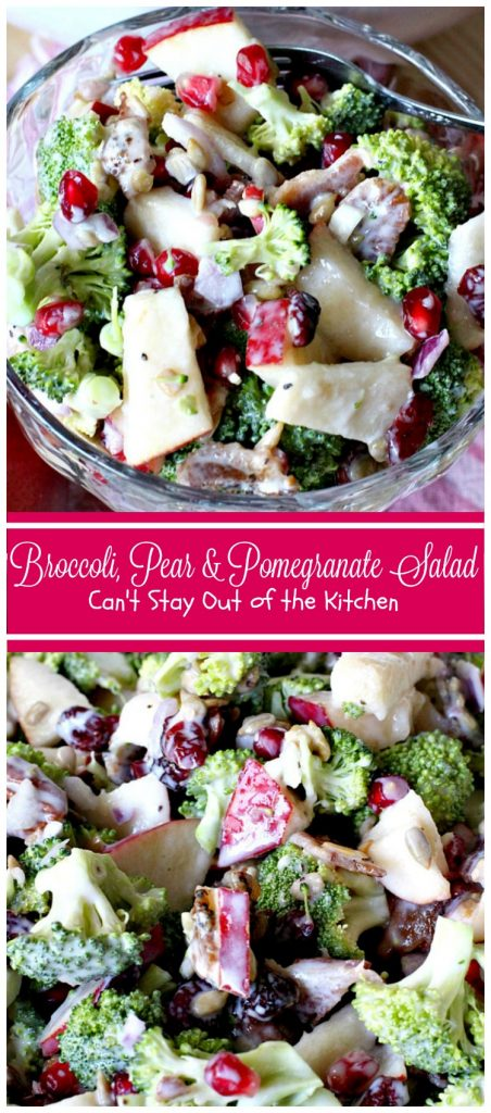Broccoli, Pear and Pomegranate Salad | Can't Stay Out of the Kitchen