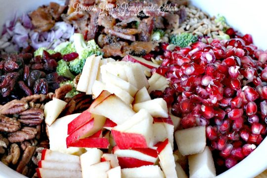 Broccoli, Pear & Pomegranate Salad | Can't Stay Out of the Kitchen | fabulous #salad that's great for the #holidays and a lot healthier than most #Thanksgiving fare. #glutenfree. #broccoli #pears #pomegranate #bacon