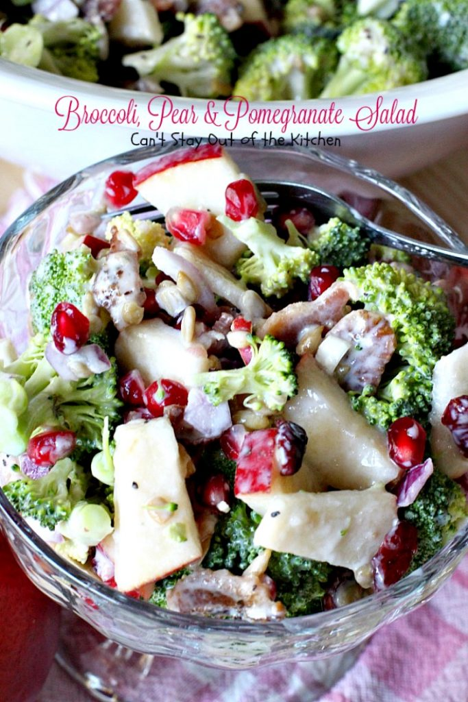 Broccoli, Pear & Pomegranate Salad | Can't Stay Out of the Kitchen