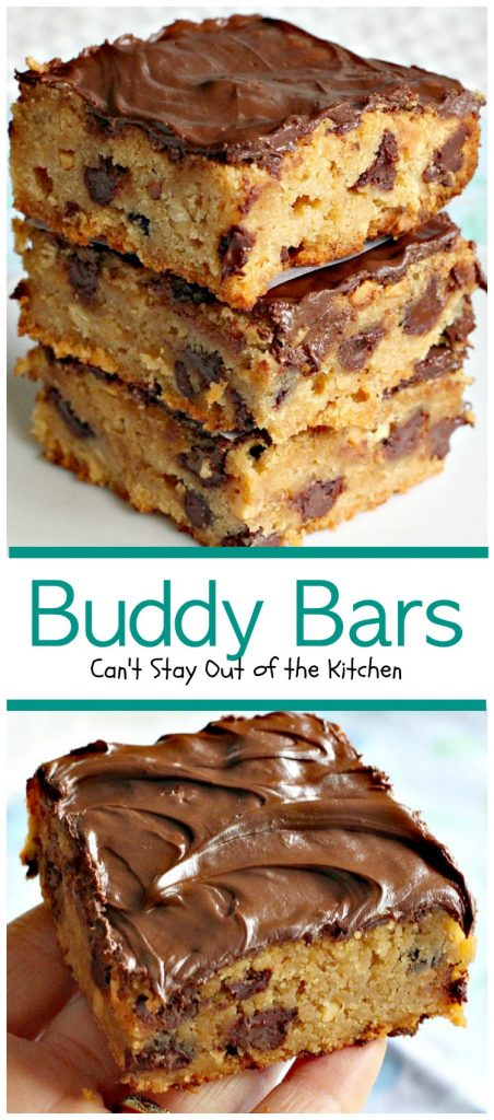 "Buddy Bars | Can't Stay Out of the Kitchen | these amazing #brownies combine #chocolate and #peanutbutter making the best ""buddy"" combination ever! #dessert #cookie"