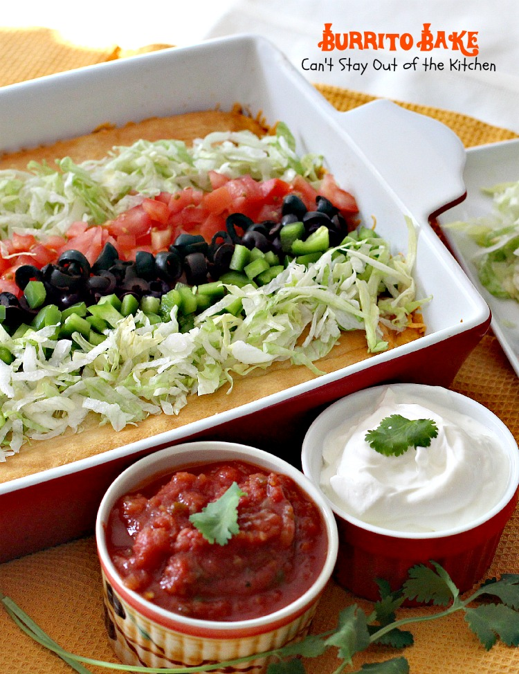 Burrito Bake | Can't Stay Out of the Kitchen | Lovely #Tex-Mex #casserole with #refriedbeans #beef #cheese and made easy with #crescentrolls.