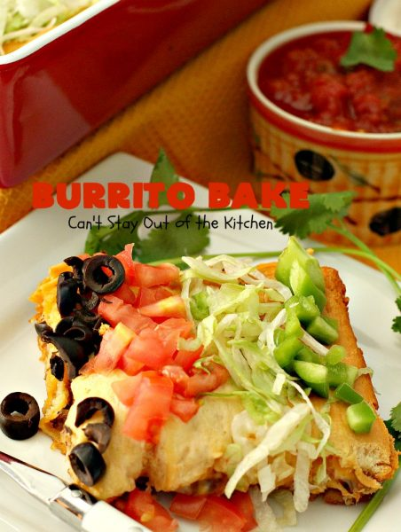 Burrito Bake | Can't Stay Out of the Kitchen | this incredibly easy #TexMex entree is layered with #crescentrolls, a #beef & #refriedbeans mixture, two cheeses & topped with olives, tomatoes & lettuce. It's served with #salsa & #guacamole for a fabulous one-dish meal that's perfect for weeknight suppers or company dinners.