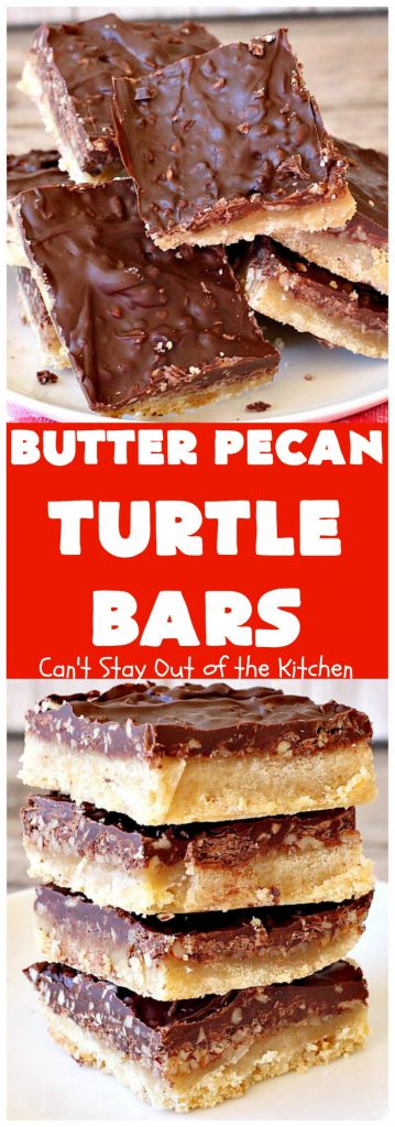 Butter Pecan Turtle Bars | These amazing layered #cookies have a shortbread crust. They're topped with #pecans & a homemade #caramel layer. Then they're covered with #chocolatechips while hot. That layer is spread into a delicious #chocolate icing. Perfect for #tailgating parties, soccer games, backyard barbecues, baby showers or potlucks. #ChocolateDessert #ButterPecanDessert #TurtleDessert #TurtleBars