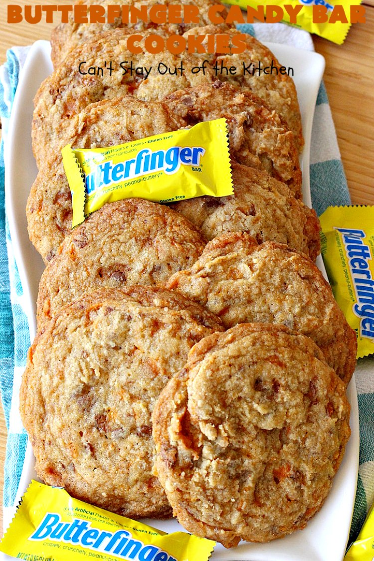 Butterfinger Candy Bar Cookies | Can't Stay Out of the Kitchen | these fantastic #cookies rock! They're filled with chopped #Butterfinger bars so they're absolutely mouthwatering & delicious. Great for #holiday or #tailgating parties or a #ChristmasCookieExchange. #dessert #HowToUseHalloweenCandy #ButterfingerBars #ButterfingerCandyBars #chocolate #ChocolateDessert #PeanutButter #PeanutButterDessert #ButterfingerDessert #ButterfingerCandyBarCookies #HolidayDessert