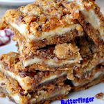 Butterfinger Cheesecake Brownies | Can't Stay Out of the Kitchen | the most scrumptious #cheesecake #brownies ever! These have #Butterfinger baking bits in the #cookie dough. #dessert #chocolate