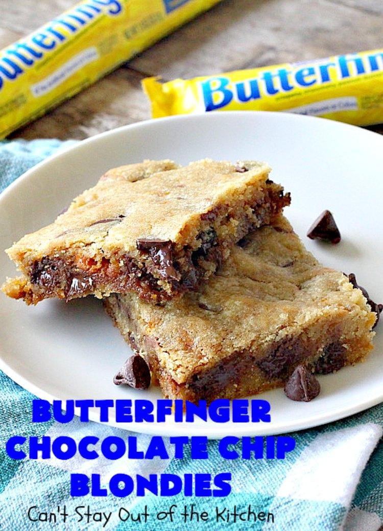 Butterfinger Chocolate Chip Blondies