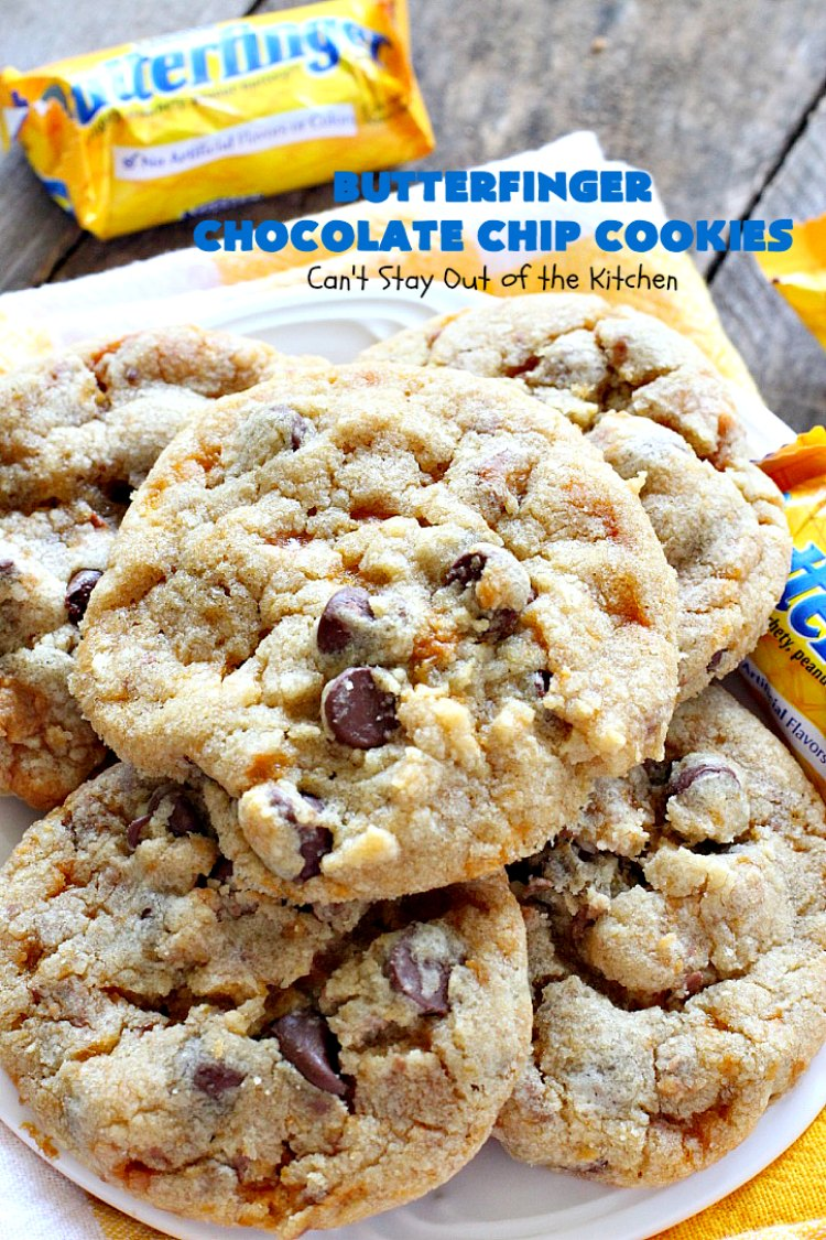 Butterfinger Chocolate Chip Cookies | Can't Stay Out of the Kitchen | these outrageous #cookies are terrific for #Christmas cookie exchanges & #holiday parties. Everyone will be drooling! #dessert #butterfingers #chocolate