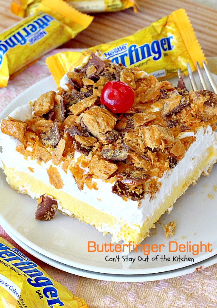 Butterfinger Delight | Can't Stay Out of the Kitchen | sensational #icecream #dessert made with #butterfinger bars! One of my best desserts ever! #chocolate