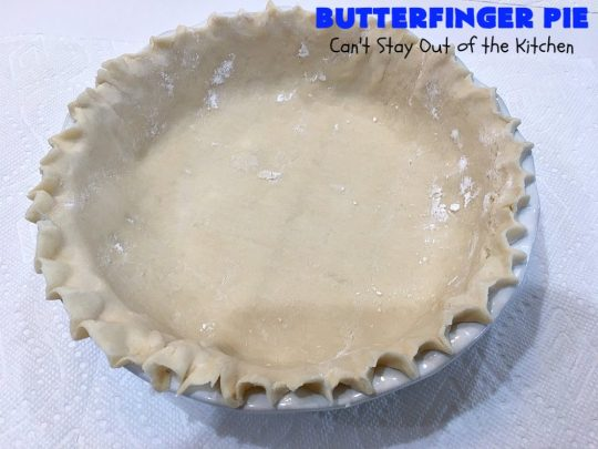Butterfinger Pie | Can't Stay Out of the Kitchen | This is one of the best #desserts you'll ever eat. It's rich, decadent & outrageously irresistible. It's filled with #Butterfingers so it's got a delightful #PeanutButter & #chocolate taste. Wow your family & friends with this amazing #pie for #ValentinesDay, other #holidays or special occasions. #ButterfingerCandy #ButterfingerPie #ChocolateDessert #PeanutButterDessert