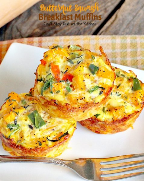 Butternut Squash Breakfast Muffins | Can't Stay Out of the Kitchen | Oh my goodness we LOVED these #breakfast #muffins. These are made with #butternutsquash and so divine! #vegetarian #glutenfree