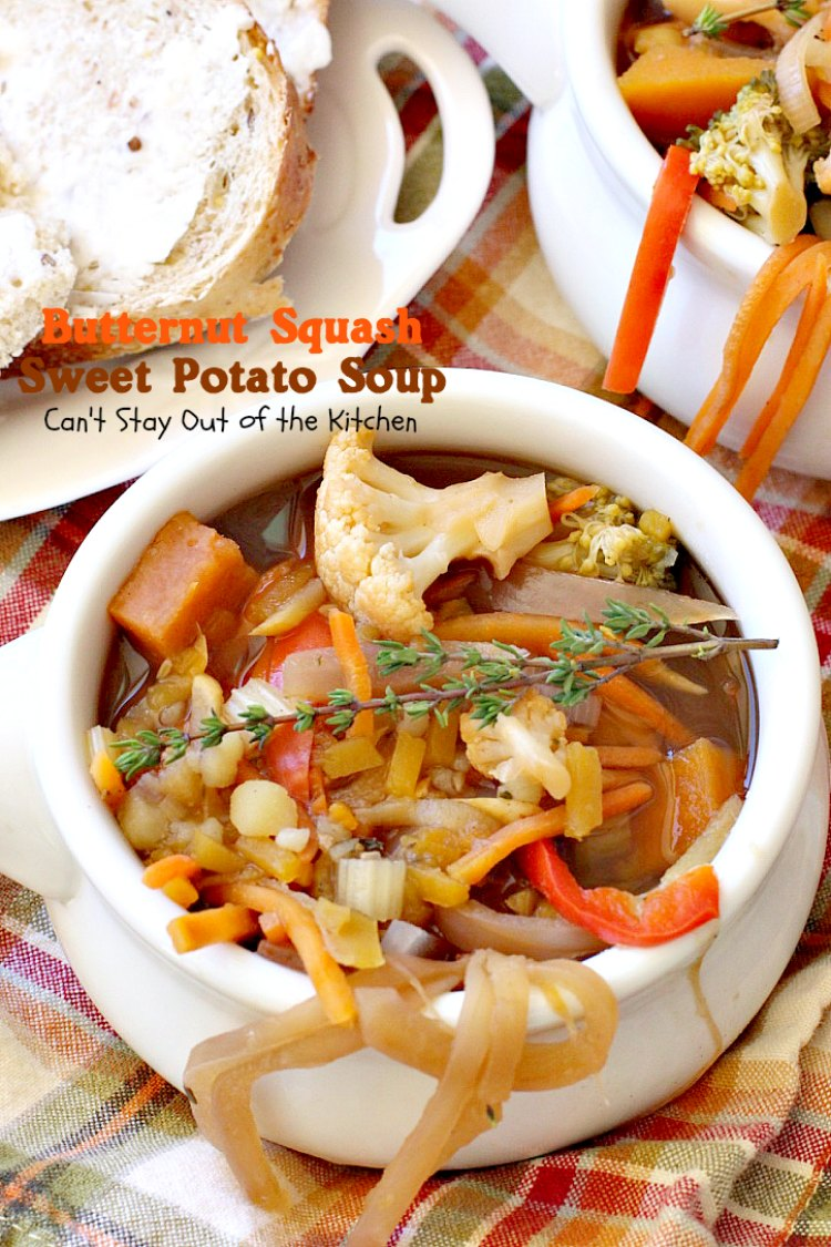 Butternut Squash Sweet Potato Soup - Can't Stay Out of the ...