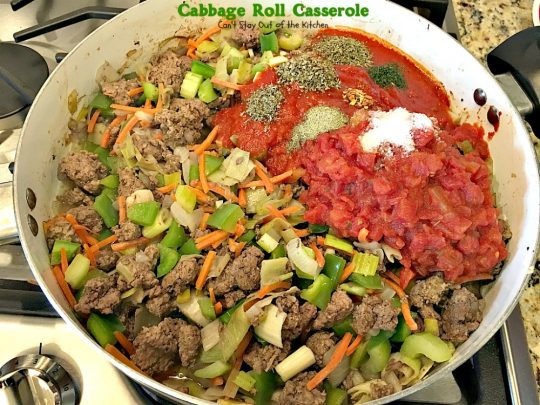 Cabbage Roll Casserole | Can't Stay Out of the Kitchen | the BEST #cabbageroll recipe ever! This one includes #bacon and #mozzarellacheese making an old-fashioned favorite even better. #rice #cabbage #groundbeef