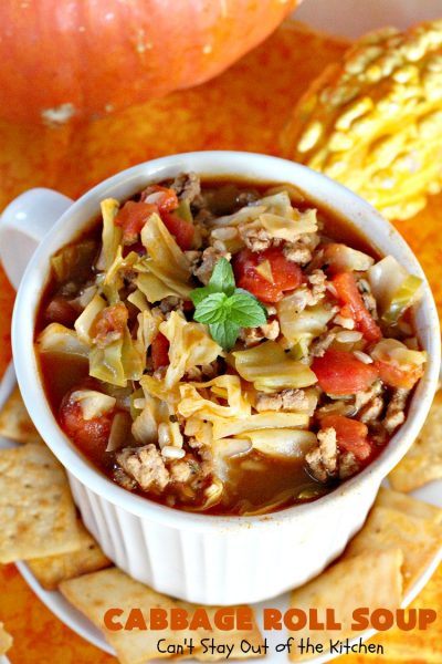 Cabbage Roll Soup | Can't Stay Out of the Kitchen | this awesome #soup tastes like eating #cabbagerolls in soup form! Perfect for chilly fall or winter nights. #glutenfree #beef #rice #Italiansausage #cabbage #tomatoes