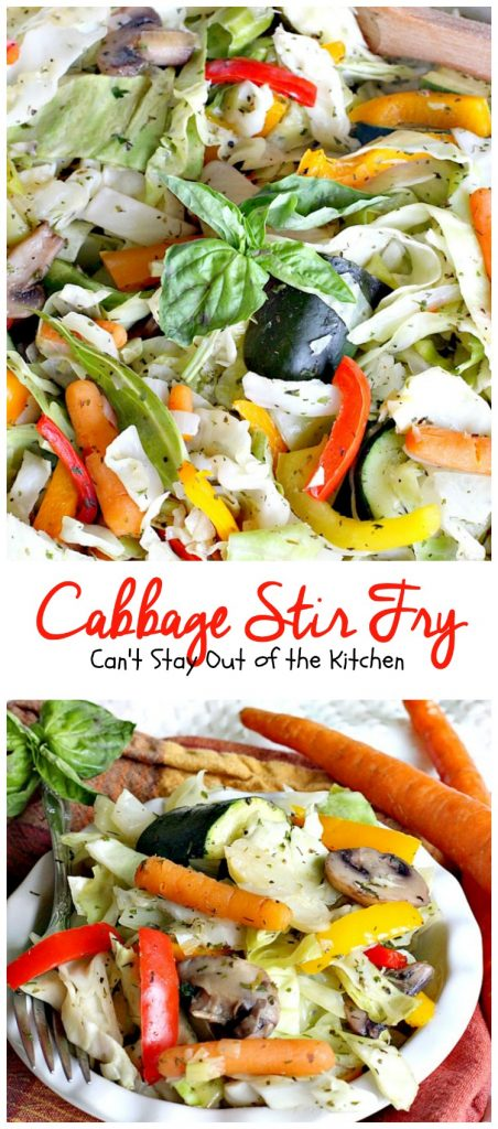 Cabbage Stir | Fry | Can't Stay Out of the Kitchen | this delicious #MeatlessMonday dish is filled with fresh veggies and herbs. Healthy, low calorie #clean-eating #glutenfree #vegan.