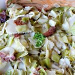 Cabbage and Noodles (Haluski) | Can't Stay Out of the Kitchen | we love this old-world #noodle dish. #Cabbage and onions are fried in #bacon and added to homemade #glutenfree noodles. (Regular #pasta can be substituted). Family favorite.