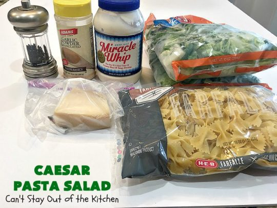 Caesar Pasta Salad | Can't Stay Out of the Kitchen | this is a terrific variation on traditional #CaesarSalad #recipes that includes bow-tie #pasta & a quick & easy homemade #SaladDressing. Great for potlucks & backyard BBQs. #salad #PastaSalad #ParmesanCheese #CaesarPastaSalad
