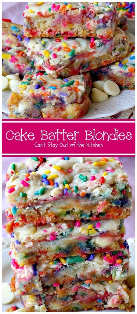 Cake Batter Blondies | Can't Stay Out of the Kitchen | the most awesome blondies ever! These are filled with #whitechocolatechips & #rainbowsprinkles for a heavenly taste you'll be drooling over! #chocolate #dessert