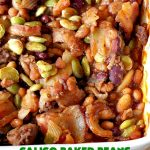 Calico Baked Beans | Can't Stay Out of the Kitchen | these #BakedBeans are heavenly & one of my most requested #recipes! They use 4 kinds of beans, #bacon & #GroundBeef. Wonderful for potlucks, backyard BBQs or grilling out with friends. #casserole #SideDish #CalicoBakedBeans #Holiday #HolidaySideDish #MemorialDay #FourthOfJuly #LaborDay