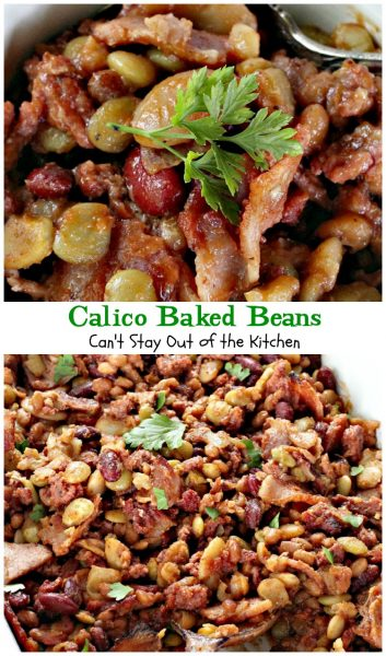 Calico Baked Beans | Can't Stay Out of the Kitchen | one of my most requested #bakedbeans recipes! Everyone loves this. #beef #bacon