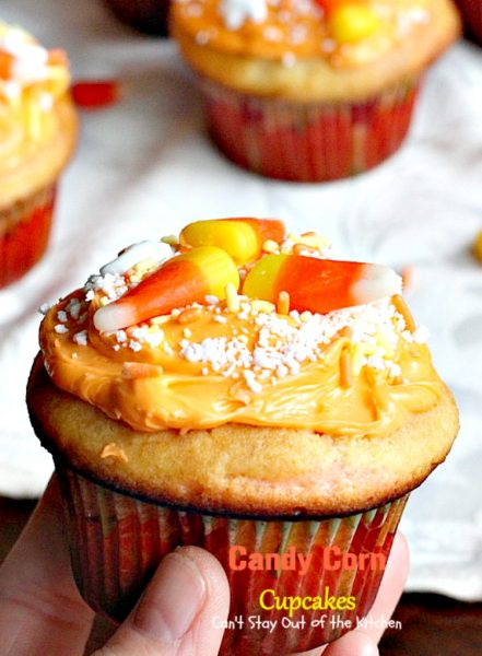 Candy Corn Cupcakes | Can't Stay Out of the Kitchen | these adorable #cupcakes are made with #candycorns and are a great way to use up leftover #Halloween candy! #dessert
