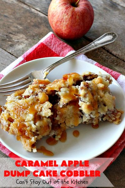 Caramel Apple Dump Cake Cobbler | Can't Stay Out of the Kitchen | this fantastic #cobbler uses only 5 ingredients & can be oven ready in 5 minutes! It's perfect for summer #holiday fun, potlucks, backyard Barbecues or #FathersDay. #dessert #dumpcake #apples #caramelapples