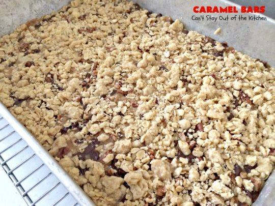 Caramel Bars (a.k.a. Turtle Bars) | Can't Stay Out of the Kitchen | these decadent & divine #brownies are like eating #TurtleCandies! They're filled with #chocolate chips, #caramels & pecans in a scrumptious streusel topping & crust. Perfect for #holiday baking & #Christmas #cookie exchanges.
