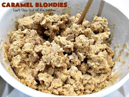 Caramel Blondies | Can't Stay Out of the Kitchen | these fantastic #cookies are made with #Ghirardelli #caramel chips. So awesome! Perfect for #tailgating parties & potlucks. #dessert #carameldessert #falldessert