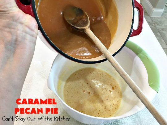 Caramel Pecan Pie | Can't Stay Out of the Kitchen | Oh my gosh! This #PecanPie is rich decadent & divine! It's made with #caramels in the filling. This is a fantastic #dessert for company or #holidays like #Thanksgiving or #Christmas. Wow your family & friends with one of the best pies you'll ever eat! #Pecans #PecanDessert #CaramelPecanPie #GooseberryPatch