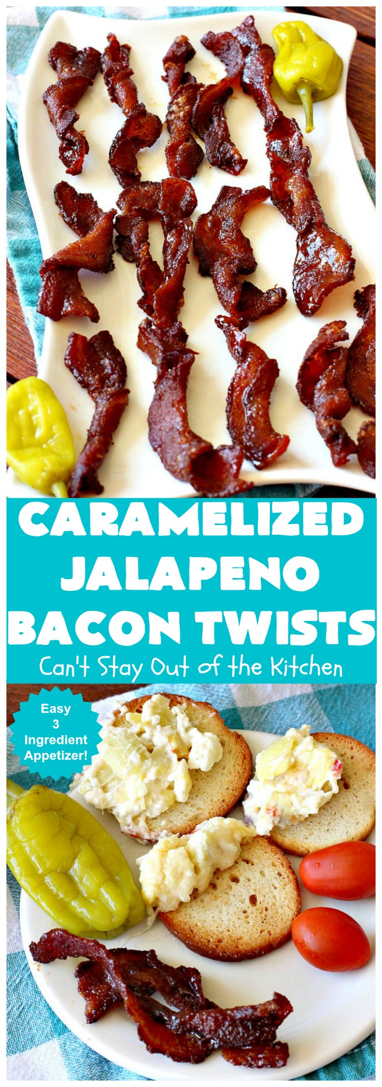 Caramelized Jalapeno Bacon Twists | Can't Stay Out of the Kitchen | this sensational 3 ingredient #appetizer is perfect for any #tailgating or #holiday party. It's quick & easy to make and has enough heat to keep it interesting.  #TexMex #jalapenos #bacon #GlutenFree #3IngredientRecipe #HolidayAppetizer #GlutenFreeAppetizer #CaramelizedJalapenoBaconTwists