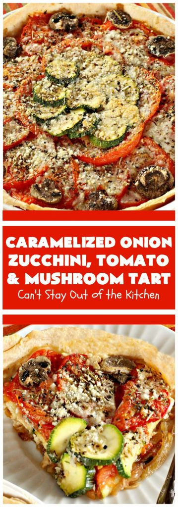 Caramelized Onion, Zucchini, Tomato and Mushroom Tart | Can't Stay Out of the Kitchen | this lovely, mouthwatering tart is filled with #tomatoes, #zucchini, #mushrooms, #CaramelizedOnions & 4 kinds of #cheese. Terrific for a #holiday or company #breakfast or for a #MeatlessMonday entree. #FontinaCheese #ParmesanCheese #AsiagoCheese #RomanoCheese #CaramelizedOnionZucchiniTomatoAndMushroomTart