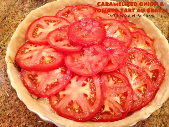 Caramelized Onion and Tomato Tart Au Gratin | Can't Stay Out of the Kitchen | this delectable tart is filled with #tomatoes, 4 cheeses & #CaramelizedOnions. It is so mouthwatering. Good as a #SideDish or for #Breakfast. #TomatoTart #TomatoPie #RomanoCheese #ParmesanCheese #AsiagoCheese #FontinaCheese #Holiday #HolidaySideDish #HolidayBreakfast #Easter #MothersDay