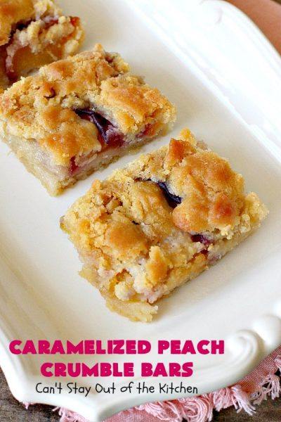 Caramelized Peach Crumble Bars | Can't Stay Out of the Kitchen | these fantastic #cookies use a luscious #SugarCookie dough. They're layered with unpeeled #peaches, then a homemade #caramelized sugar with vanilla & #almond extracts are ladled over top. #Cookie dough is crumbled over top for an ooey, gooey & decadent #dessert you will absolutely love. #peachdessert #CANbassador #WashingtonStateFruitCommission #WashingtonStateStoneFruitGrowers