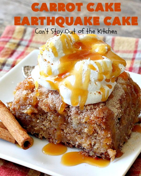 Carrot Cake Earthquake Cake | Can't Stay Out of the Kitchen | this fantastic #cake is rich, decadent & divine! It's layered with #pecans, #coconut, vanilla chips & uses a boxed #carrotcake mix. Then it has a #cheesecake icing layer that sinks into the #dessert while baking. The explosion causes an earthquake! Amazing dessert for company or #holidays.