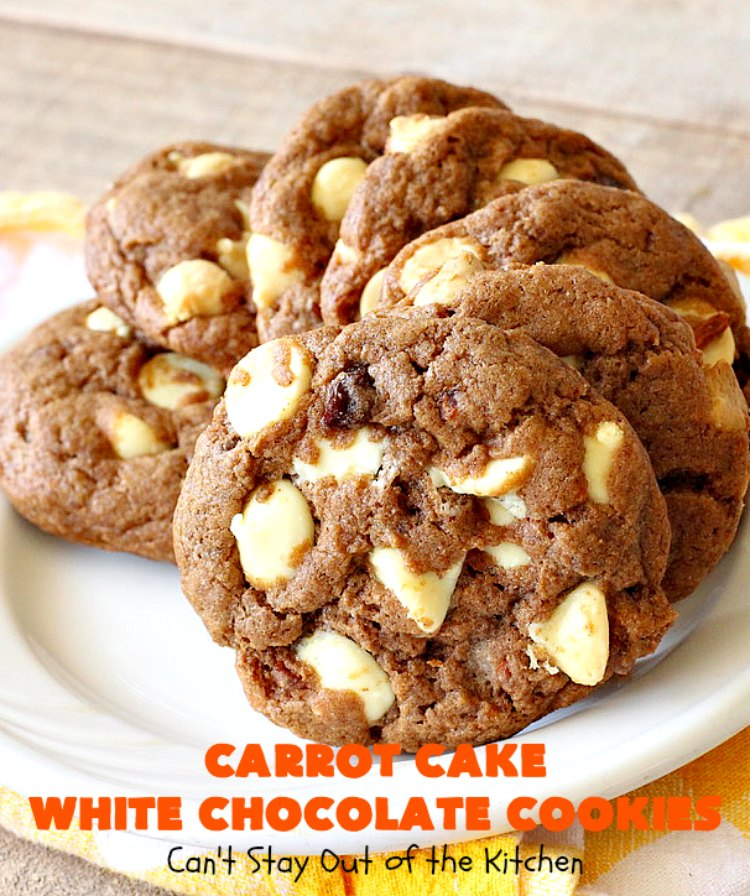 Carrot Cake White Chocolate Cake | Can't Stay Out of the Kitchen | spectacular 4-ingredient #recipe that is rich, decadent & heavenly. If you enjoy #CarrotCake, you'll love this #cookie version with #WhiteChocolateChips. #dessert #chocolate #CarrotCakeDessert #ChocolateDessert #tailgating