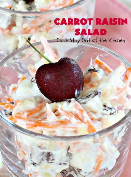 Carrot Raisin Salad | Can't Stay Out of the Kitchen | my Mom's delicious #salad includes #marshmallows & #pineapple. Great for #MemorialDay & other summer #holidays. #carrots #glutenfree