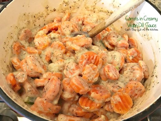 Carrots in Creamy Vegan Dill Sauce | Can't Stay Out of the Kitchen | This tasty #sidedish is so quick & easy to make and wonderfully seasoned. It's great for #holiday menus, too. #dairyfree #vegan #glutenfree #carrots