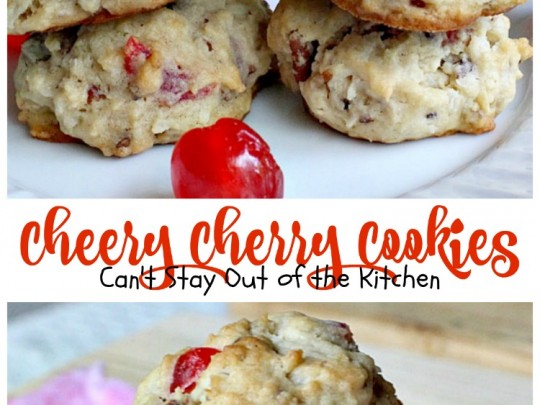 Cheery Cherry Cookies | Can't Stay Out of the Kitchen | these are one of our favorite #Christmas #cookies! They're full of candied #cherries and #coconut for spectacular flavor. #dessert