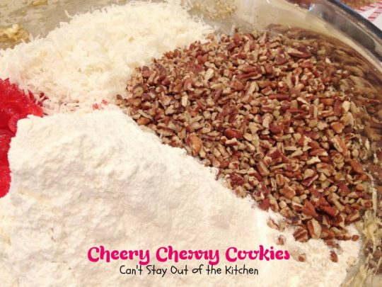 Cheery Cherry Cookies | Can't Stay Out of the Kitchen | fabulous #cherry #cookies with #pecans and #coconut. #dessert #candiedcherries