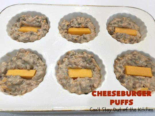 Cheeseburger Puffs | Can't Stay Out of the Kitchen | these fantastic #appetizers are perfect for #tailgating parties, potlucks or special occasions like birthdays or baby showers. Just drizzle with #BBQSauce & you have a delightful #Cheeseburger treat that you won't be able to get enough of! Also great for a busy weekend dinner. #GroundBeef #CheeseburgerPuffs #CheddarCheese #SuperBowl