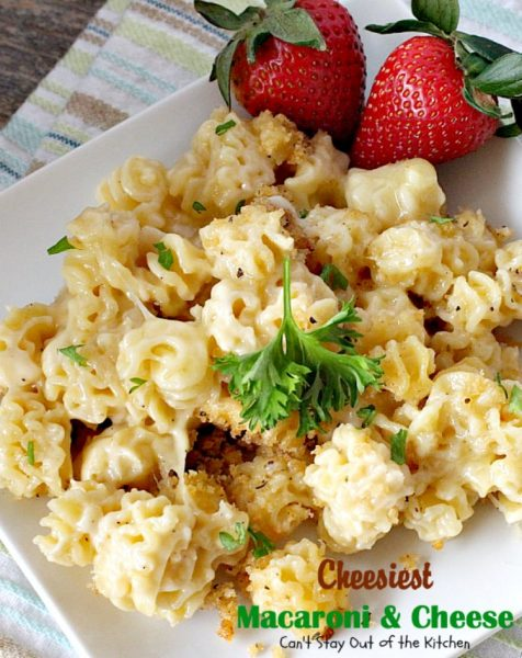 Cheesiest Macaroni and Cheese | Can't Stay Out of the Kitchen | heavenly comfort food that uses 3 #cheeses & topped with #panko bread crumbs. #Macaroni&Cheese #pasta #MeatlessMonday
