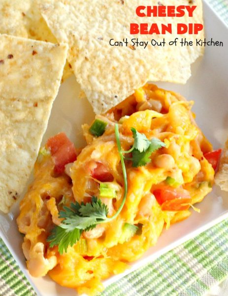 Cheesy Bean Dip | Can't Stay Out of the Kitchen | this fantastic 5-ingredient #appetizer is the one you want to make for #tailgating, #NewYearsEve or #SuperBowl parties. It's smooth, creamy with just a little hint of heat from #jalapeno peppers. #bacon #cheese