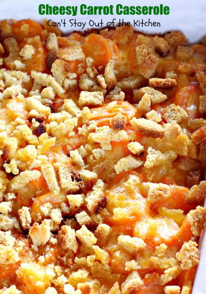 Cheesy Carrot Casserole | Can't Stay Out of the Kitchen | fantastic 5-ingredient recipe that's perfect for #holidays like #MothersDay or #Easter. Quick & easy. #carrots
