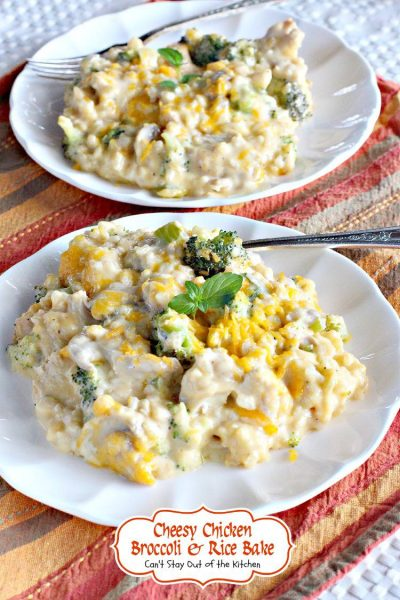 Cheesy Chicken Broccoli and Rice Bake | Can't Stay Out of the Kitchen | this cheesy #casserole is comfort food at its best! #glutenfree #chicken #broccoli #cheese #rice